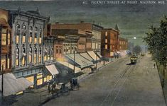 Pinckney Street at Night | Postcard | Wisconsin Historical Society