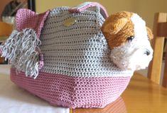 Crochet Animals, Crochet Pet, Crochet Bags, Pet Transport, Pet Bag, Crochet Shoulder Bags, Pink Grey, Gray, Handmade Items