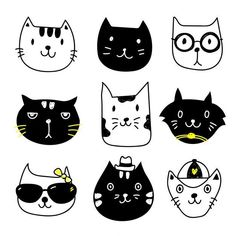 Cat character vector design stock illustration - illustration of Gato Doodle, Doodle Art, Kitty Party, Crazy Cat Lady, Crazy Cats, Gatos Vector, Cat Icon, Cat Character, Cat Birthday