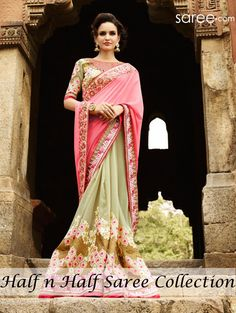 PINK AND GREEN PURE GEORGETTE SAREE WITH RESHAM EMBROIDERY WORK
