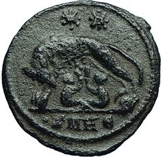 CONSTANTINE I the GREAT 330AD Romulus Remus WOLF Rome Ancient Roman Coin i66545