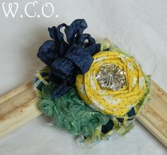 the KELLEY Fabric Ruffle and Rosette Headband or Hair Clip M2M Persnickety Lemon Tree Collection