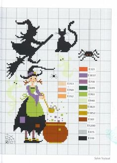 Crafts: Witches for Embroidery / Halloween . - Crafts: Witches for embroidery / Halloween cross stitch patterns - Mini Cross Stitch, Cross Stitch Needles, Cross Stitch Cards, Cross Stitching, Cross Stitch Embroidery, Embroidery Patterns, Cross Stitch Patterns, Loom Patterns, Halloween Embroidery