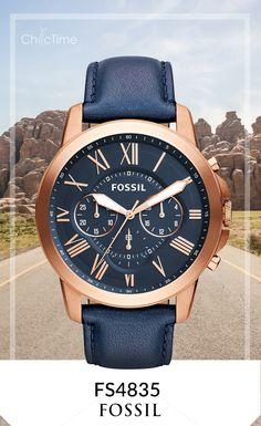 La montre Homme FS4835 par Fossil accompagnée de son bracelet en cuire en et son cadran bleus. Ce bijou est en réduction à -25% sur Chic-Time