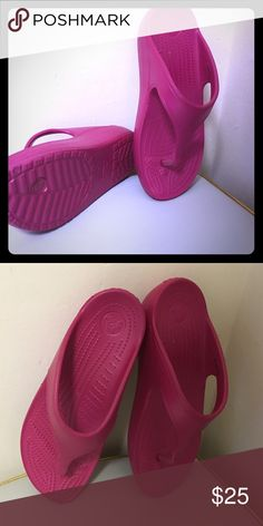 Croc platform Sandals Women's Crocs Sloane Platform Flip details:  A prettier, more feminine everyday flip Comfortable 1.25-inch platform height for a little lift without heels Croslite™ foam cushion for signature Crocs comfort Incredibly light and versatile; for beach, pool, travel and beyond CROCS Shoes Sandals