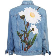 """""""DAISY"""" SILK RIBBON EMBROIDERED JACKET (€1.960) ❤ liked on Polyvore featuring outerwear, jackets, tops, silk jacket, blue denim jacket, embroidered jean jacket, jean jacket and embroidered jacket"""