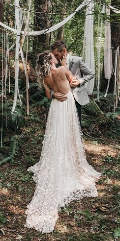 Backless Wedding, Bohemian Wedding Dresses, Boho Wedding, Wedding Gowns, Dream Wedding, Wedding Attire, Wedding Bride, Floral Wedding, Winter Wedding Receptions