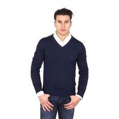 V 1969 Italia mens V neck sweater 9801 SCOLLO V BLU NAVY