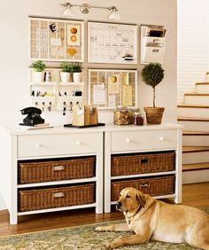 Really like this organization system, could do this in the dining room or the entry hallway, love the light over it. jb