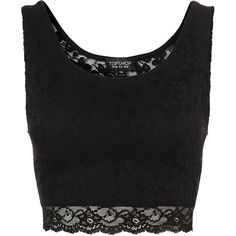 TOPSHOP Lace Crop ($23) ❤ liked on Polyvore featuring tops, shirts, crop tops, blusas, black, shirt crop top, topshop tops, lace shirt, black shirt and shirts & tops