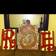 Initials for above my bed. Painted on canvas