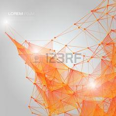 3D Orange resumen de antecedentes de malla con C rculos l neas y formas EPS10 disposici n de dise o  Foto de archivo