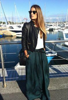 Green maxi long skirt outfit