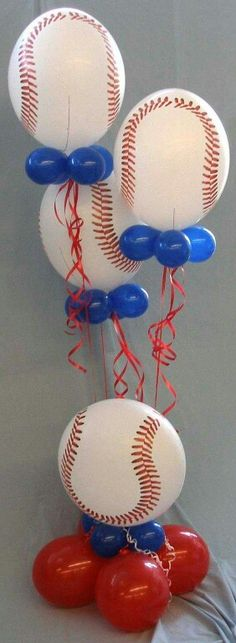 Baseball Balloon arrangements for Baseball birthday or baby shower! & Creative Centerpiece Ideas - WOW.com - Image Results | Centerpiece ...