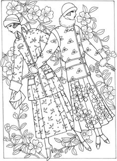 Welcome To Dover Publications Creative Haven Art Deco Fashions Coloring Book Page For Adults Kleuren