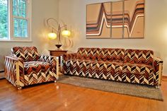 Mid-century low profile Jack Lenor Larsen sofa set