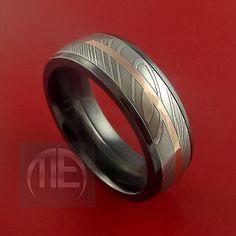 Black Zirconium and Damascus Steel Band 14K by StonebrookJewelry, $696.92