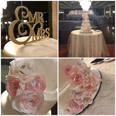 Mr & Mrs. Ivory and blush wedding cake. Beautiful wafer paper roses
