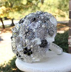 Black White and Silver Wedding Brooch Bouquet. by annasinclair