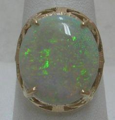 Estate 7ct Australian Fire Opal 14k Gold Cocktail Ring