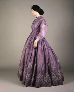 1860s Scottish tamboured day dress.