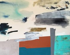 """Everything \\\ 48"""" x 60"""" acrylic, pigment, dye, graphite, collage on raw canvas"""