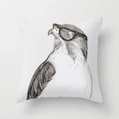 Hawk with Poor Eyesight Throw Pillow by Phil Jones - $20.00
