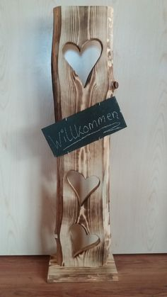 Lovingly handmade wooden board (from local forests). - Lovingly handmade wooden board (from local forests). 3 pieces of sawn hearts. Decoration: 1 piece o - Crate Bookshelf, Bookshelves Kids, Handmade Books, Handmade Wooden, Vintage Heart, Wooden Crates, Chalkboard Art, Decorative Objects, Art Projects