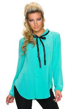 Blusa camisa mujer cierre con botones lazo en el cuello manga larga | Turquesa, Negro | Trionfo