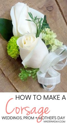 How to make a Corsage for Weddings Prom and more A simple tutorial on how to layer flowers to make a corsage for a special occasion Mother s Day Prom Weddings etc wedding corsage prom corsage mother s day corsage Prom Flowers, Diy Wedding Flowers, Silk Flowers, Wedding Bouquets, Wedding Ideas, Wedding Planning, Wedding Decorations, Wedding Hacks, Church Flowers
