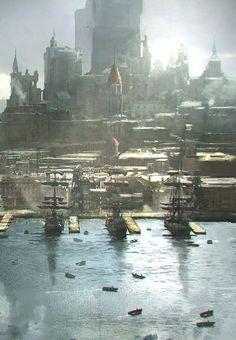 Port City Fantasy concept art Fantasy art landscapes Fantasy city