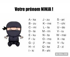 ninja names by Awesome. Your Name In Japanese, Japanese Words, Alphabet Code, Video Humour, School Memes, Lego Ninjago, Troll, Nom Nom, Funny Jokes