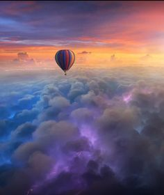 Clouds and hot air balloon sky