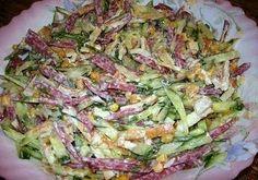 Салат Любимый Ингредиенты: Огурец свежий — 2 шт. Колбаса полукопченая — 100 гр. Кукуруза консервированная — 1 б. (100 гр.) Яйца — 4 шт. Зеленый лук — небольшой пучок Майонез для заправки. Приготовление: Яйца взбиваем с солью. Жарим из этой смеси блинчики. Даем остыть. Колбасу, огурец, блинчики режем соломкой, добавляем кукурузу и мелко нарезанный зеленый …