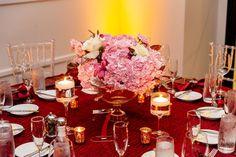 Blush and Burgundy fall wedding centerpiece. Burgundy linens and pink flowers made this fall wedding in Orlando Florida come to life. New York Wedding planner that travels for weddings. Peonies Wedding Centerpieces, Pink Wedding Decorations, Wedding Flowers, Pink Wedding Receptions, Popular Wedding Colors, Wedding Flower Inspiration, New York Wedding, Burgundy Wedding, Blush
