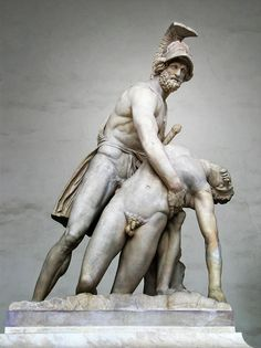 Menelaus supporting the body of Patroclus. This statue is of Menelaus supporting the body of Patroclus. From the Flavian era, copied from the Greek original about 240-230 BC. This statue, discovery in Rome in 1541 , was a gift of Pope Pius IV to Cosimo I de Medici in 1579 Was collocate at the end of Ponte Vecchio (Pitti side) and finaly moved under the Loggia in 1841.
