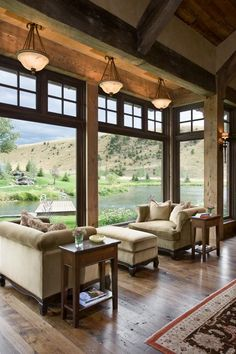 Log and Timber frame home designed by Locati in Montana! Love the big windows Big Windows, Floor To Ceiling Windows, Wall Of Windows, Transom Windows, Ceiling Height, Cabin Homes, Log Homes, Construction Chalet, Br House