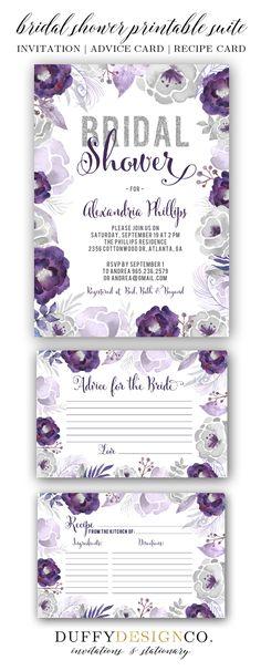 Bridal Shower Invite, Bridal Advice Card, Recipe Card, Advice for the Bride Card, Recipe for the Bride, Printable Invitation & Card Suite, Purple & gray watercolor floral invitation suite by Duffy Design Co