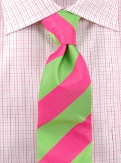 Perfect for a sweetheart/Diamond Man; a pink and green necktie!
