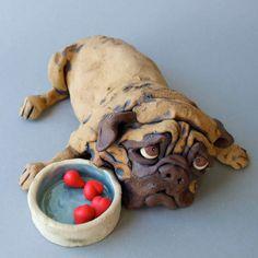 Ceramic Pug Dog with Bowl Sculpture von RudkinStudio auf Etsy
