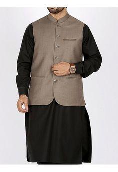 men gray waist coat with black kurta men eid kurta shalwar kameez and waistcoat dress designs 2017 by Junaid Jamshed