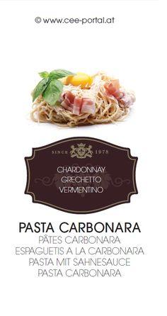 PASTA CARBONARA PÂTES CARBONARA ESPAGUETIS A LA CARBONARA PASTA MIT SAHNESAUCE PASTA CARBONARA CHARDONNAY GRECHETTO VERMENTINO Wine Recipes, Snack Recipes, Snacks, Pasta Carbonara, Chips, Wine Food, Recipe, Food And Wine, Food Food