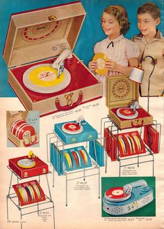 Child's record player with plastic records, 1957