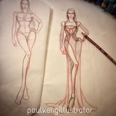 Fashion Design & Illustration by Paul Keng Fashion Model Sketch, Fashion Design Sketchbook, Fashion Illustration Sketches, Fashion Design Drawings, Fashion Sketches, Fashion Graphic, Fashion Art, Easy Portrait Drawing, Poses
