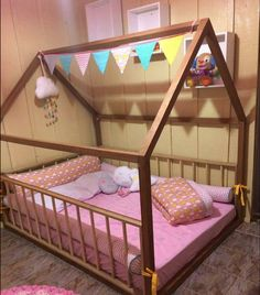 great toddler furniture teepee kids home bed, full double size with slats 14 ~ Home Design Ideas Diy Toddler Bed, Toddler Rooms, Little Girl Bedrooms, Girls Bedroom, Bedroom Bed, Sleepover Room, Toddler Furniture, Shared Rooms, Baby Room Decor