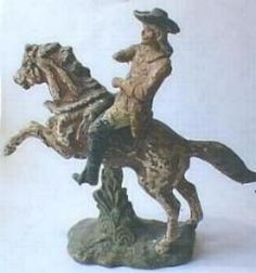 This energetic model of Buffalo Bill was produced by Emil PFEIFFER of Vienna around 1900-1910, this manufacturer was better known for producing dolls and went on to make the earlier figures for Elastolin. This is probably the largest figure in my collection, measuring 14.5 cm from the tip of his hat to the base.  Composition figures are notoriously prone to damage or disintegration if stored in damp conditions, the wire armature inside them rusts and expands cracking the figures open. So…