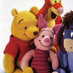 Winnie the Pooh, Piglet, Tigger, Eeyore amigurumicrochet pattern, winnie the pooh! - would love these but can't crochet :(PDF-Winnie The Pooh Tigger Ferkel und i-Ah von camilucidesign (Jouet Pour)We have put together the most beautiful amigurumi knit Chat Crochet, Crochet Amigurumi, Crochet Motifs, Crochet Blanket Patterns, Knit Or Crochet, Amigurumi Patterns, Amigurumi Doll, Crochet For Kids, Crochet Crafts