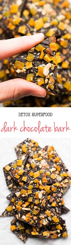Detox Superfood Dark Chocolate Bark -- only 96 calories! SO easy & healthy! And it tastes WAY better than anything store-bought!