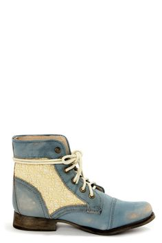 Steve Madden Thundr-C Blue Crocheted Lace-Up Ankle Boots