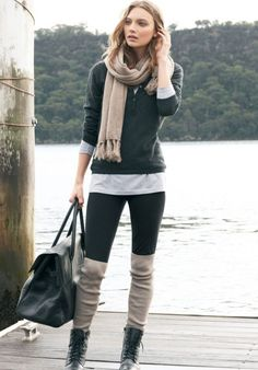 love the tall socks or warmers out of the boots, big trend this fall. A few years ago this was huge in Germany.